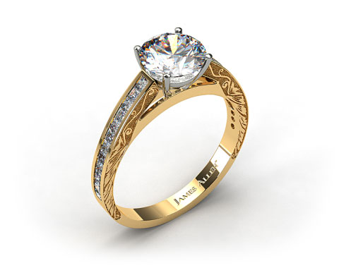 18k Yellow Gold Engraved Channel Set Princess and Carre Shaped Diamond Engagement Ring
